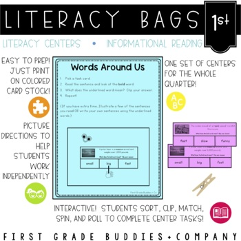 Literacy Bags for 1st Grade: Reading Informational Text {10 Literacy Centers}