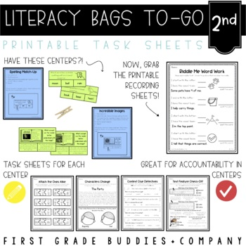 Literacy Bags for 2nd Grade: To-Go {40 Printable, No Prep CC Literacy Centers}