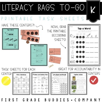 Literacy Bags for Kinder: To-Go {40 Printable, No Prep CC Literacy Centers}