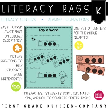 Literacy Bags for Kindergarten: Reading Foundation Skills {10 Literacy Centers}