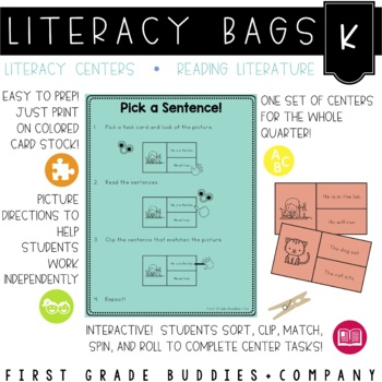 Literacy Bags for Kindergarten: Reading Literature {10 Literacy Centers}