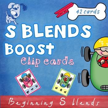Beginning S Blends Clip Cards -  sc sk sm sn sp st sw