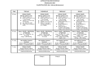 Literacy Block 60 minute Schedule for Grade 2