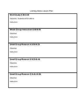 Literacy Block Lesson Plan Template