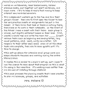 Literacy Block Planning Guide {Freebie}