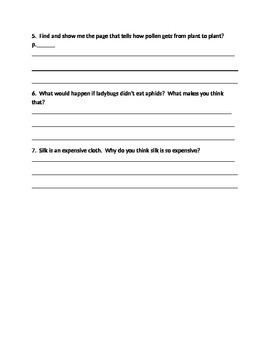 Literacy By Design - Guided Reading Questions- Don't Stomp on That Bug - Level J