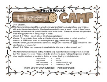 Literacy Camp First 9 Weeks
