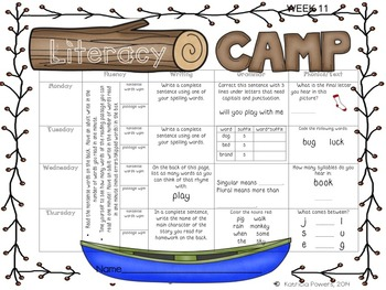 Literacy Camp Full Year of Literacy Homework BUNDLE {DIBELs practice!!!}