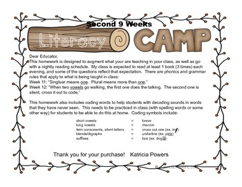 Literacy Camp Second 9 Weeks