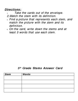 Literacy Center: 5th Grade Stems