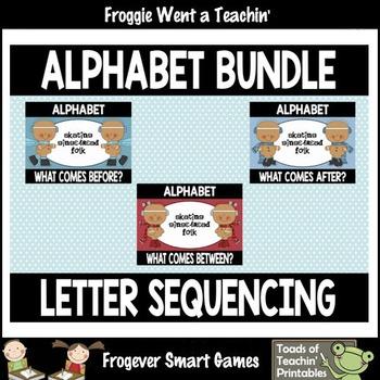 """Alphabet--Letter Sequencing Bundle """"Skating Gingerbread Folk"""""""