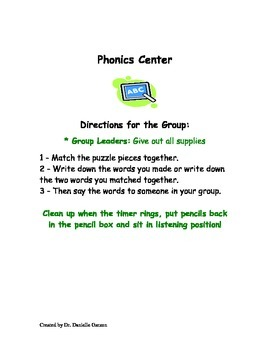 Literacy Center Activities & Center Chart Cards