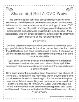 Literacy Center Activity - Shake and Roll a CVC Word