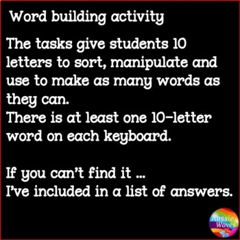 Independent Spelling & Word Building Activity Literacy Centers BOGGLE 10 LETTERS