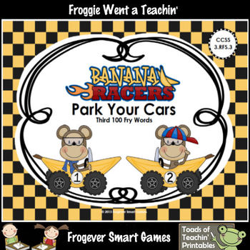 Literacy Center--Banana Racers Park Your Cars (Third 100 Fry Words)