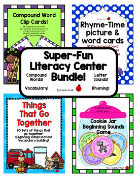 Literacy Center Bundle! 4 Super-fun Literacy Centers for Pre-K, K & Homeschool!