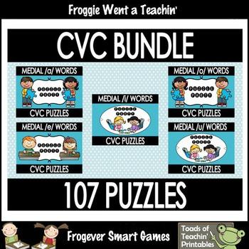 """CVC Word Puzzles bundle--107 Puzzles """"Puzzle Party"""""""