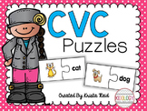 Literacy Center - CVC word Puzzles - Common Core Aligned