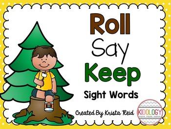 Sight Word Games - Camping Roll Say Keep