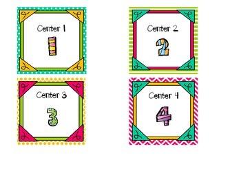 Literacy Center Chart Labels