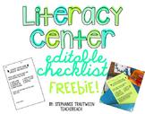 Literacy Center Checklist Freebie