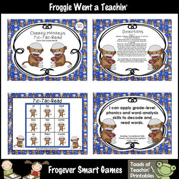 Dolch Sight Words-Cheeky Monkeys Tic Tac Read Bundle I (PP, P, 1st)