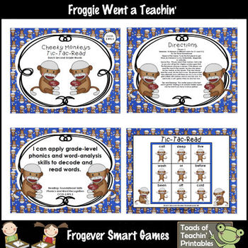 Literacy Center--Cheeky Monkeys Tic-Tac-Read Bundle II (Primer, First, Second)