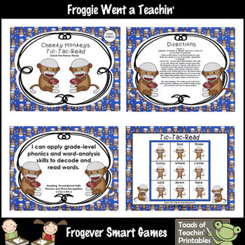 Literacy Center--Cheeky Monkeys Tic-Tac-Read Dolch Pre-Primer Words