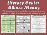 Literacy Center Choice Menus