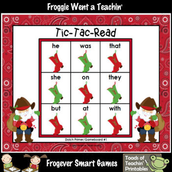 Literacy Center Christmas Hoe Down Bundle I (PP, P, and 1st Grade Dolch Words)