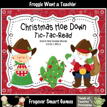 Literacy Center--Christmas Hoe Down Tic-Tac-Read (1st Grade Dolch Words)