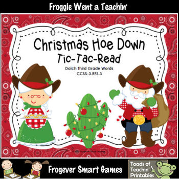 Literacy Center--Christmas Hoe Down Tic-Tac-Read Bundle IV (220 Dolch Words)