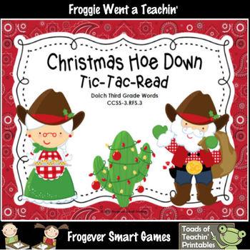 Literacy Center--Christmas Hoe Down Tic-Tac-Read Bundle IV