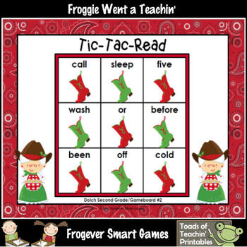 Literacy Center--Christmas Hoe Down Tic-Tac-Read (2nd Grade Dolch Words)