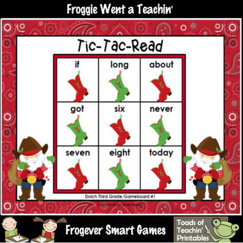 Literacy Center--Christmas Hoe Down Tic-Tac-Read Bundle III (1, 2, 3 Dolch)