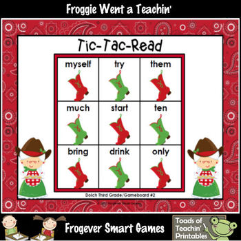 Literacy Center--Christmas Hoe Down Tic-Tac-Read (Third Grade Dolch Words)