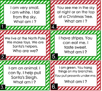 Christmas Riddles.Literacy Center Christmas Riddles Easy