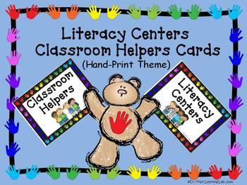 Literacy Center & Classroom Helper Cards (Handprint Theme)
