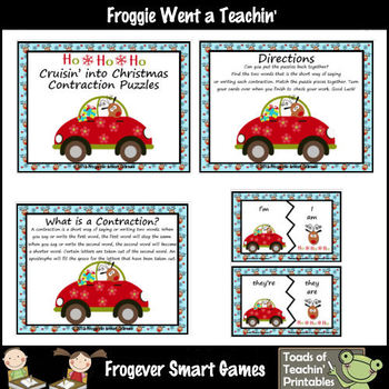 Contractions--Cruisin' into Christmas Contraction Puzzles