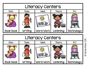 Literacy Center Daily Choice Cards