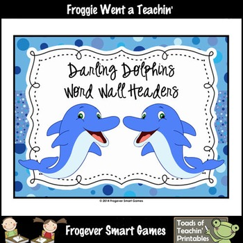 Literacy Center--Darling Dolphins Word Wall Headers (small