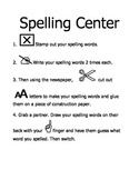 Literacy Center Direction Sheets