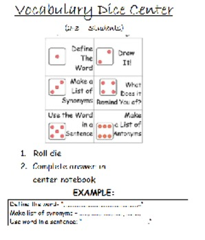 Literacy Center Directions