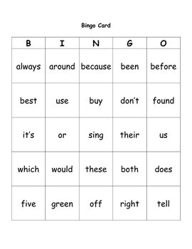 Literacy Center - Dolch Word Bingo