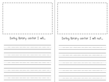 Literacy Center Expectation Book - Beginning of the Year