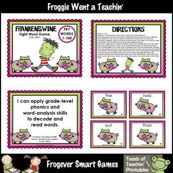 Literacy Center--Frankenswine Sight Word Games Mega Bundle