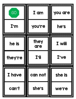 Literacy Center Game: Contraction Dominoes