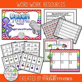 Literacy Center Games -Ocean Themed Sight Words