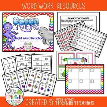 Literacy Center Games -Ocean Themed Sight Words