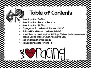 Literacy Center Games -Racecar themed Mega-pack- Dolch Sight Words
